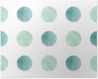Poster Aquarell Textur. Nahtlose Muster. Aquarell Kreise in Pastellfarben auf weißem Hintergrund. Pastellfarben und romantische filigranes Design. Tupfen-Muster. Frische Minze und Farben.