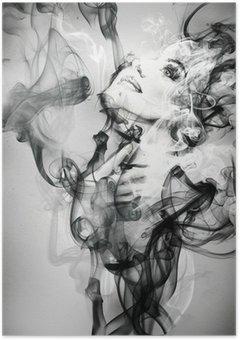 Poster Astratto ritratto di donna. acquerello illustrazione