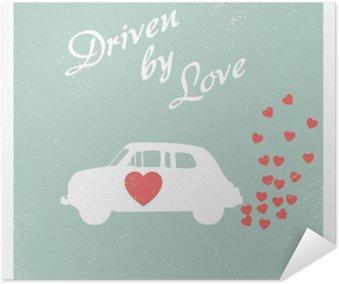 Poster Auto d'epoca guidata da amore cartolina di progettazione romantico per la scheda di San Valentino.