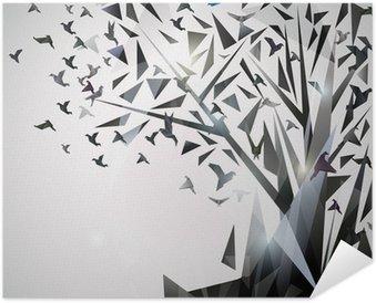 Poster Autoadesivo Albero astratto con uccelli origami.