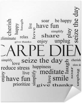 Poster Autoadesivo Carpe Diem Nube Concetto Word in bianco e nero