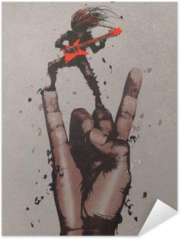 Poster Autoadesivo Grande mano in segno di rock n roll con il chitarrista, illustrazione pittura