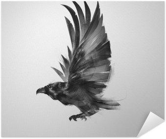 Poster Autoadesivo Isolato uccello che vola graficamente corvo nero