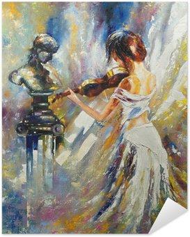 Poster Autoadesivo La ragazza la riproduzione di un violino