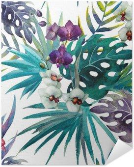 Poster Autoadesivo Modello Orchid Hibiscus lascia tropici acquerello