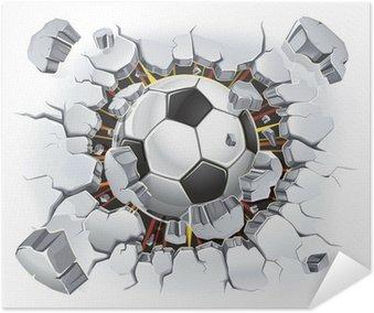 Poster Autoadesivo Pallone da calcio e Old danno della parete in gesso. Illustrazione vettoriale
