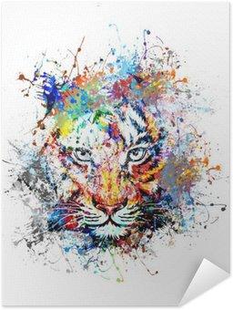Poster Autoadesivo Sfondo luminoso con tigre