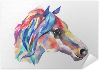 Poster Autoadesivo Testa di cavallo, mosaico. stile trendy geometrica su sfondo bianco.