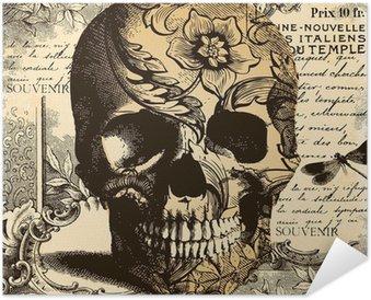 Poster Autoadesivo Vintage Skull sfondo