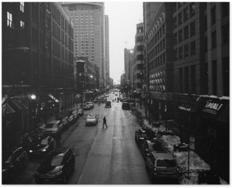 Poster Black and White Chicago Streets