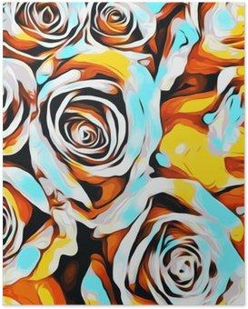 Poster Blau, orange, weiß und gelb Rosen Textur abstrakten Hintergrund