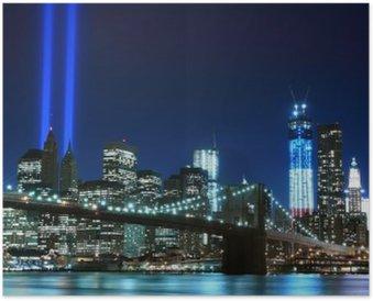 Poster Brooklyn Brigde e le torri di luci, New York City