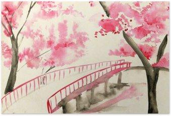 Poster Brücke unter Kirschblüten, im chinesischen Stil Landschaft