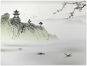 Poster Chinesische Landschaft, Malerei