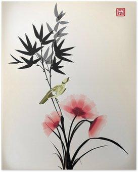 Poster Chinesische Tusche Stil Blume Vogel Zeichnung