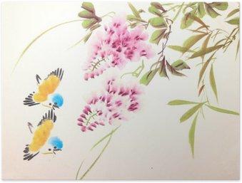 Poster Chinesische Tuschemalerei Vogel- und Pflanzen