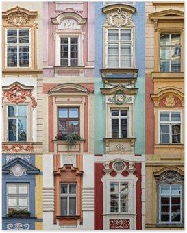 Poster Collage von bunten Fenstern von Prag, Tschechische Republik