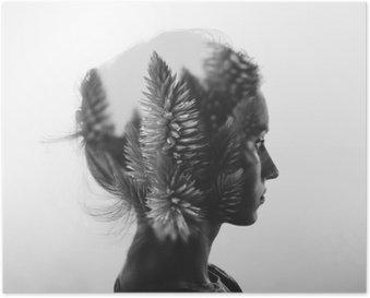 Poster Creativo doppia esposizione con il ritratto di giovane ragazza e fiori, in bianco e nero