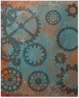 Poster Dampf-Punk-Grunge-Hintergrund mit Uhr wheels__