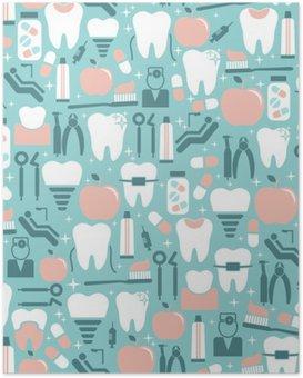 Poster Dental Care Grafik auf blauem Hintergrund
