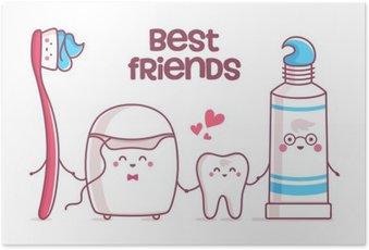 Poster Dente, dentifricio, filo interdentale, spazzolino da denti