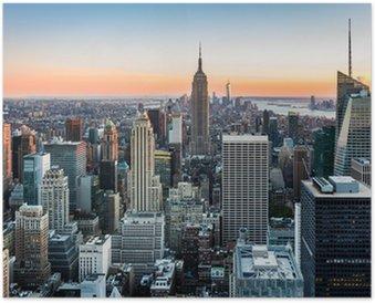 Poster Die Skyline von New York bei Sonnenuntergang