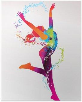 Poster Die tanzenden Mädchen mit bunten Flecken und Spritzer auf einem leichten bac