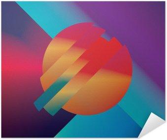 Poster Disegno materiale vettore sfondo astratto con forme geometriche isometriche. Vivace, brillante, simbolo colorato lucido per carta da parati.