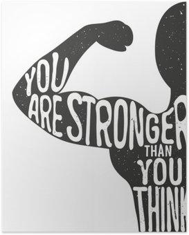 Poster Du bist stärker als du denkst. Beschriftung Jahrgang Typoplakat. Motivation und inspirierend Vektor-Illustration, Mann Silhouette und Zitat. Fitness-Club und Bodybuilding Werbung Vorlage.