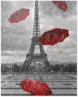 Poster Eiffelturm mit fliegenden Sonnenschirmen.