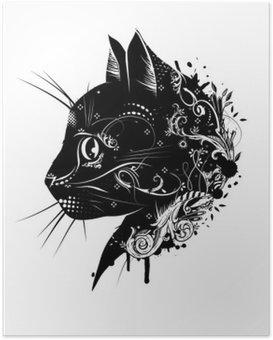 Poster Ein floral verzierter Kopf Einer Katze .__ Katzenkopf im Scherenschnitt Stil__
