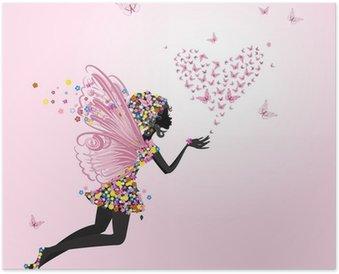 Poster Fata con un San Valentino di farfalle