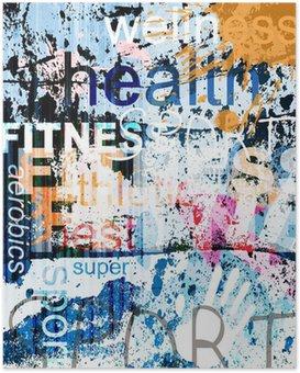 Poster FITNESS. Collage di Word su sfondo grunge.