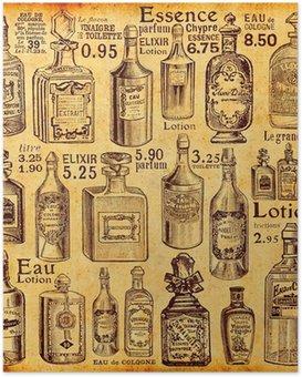 Poster Flaschen und Parfüm