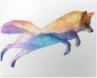 Poster Fox Doppelbelichtung Illustration