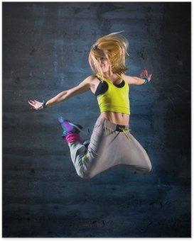 Poster Frau tanzen in der städtischen Umgebung