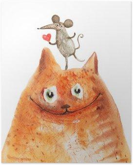 Poster Gatto con mause