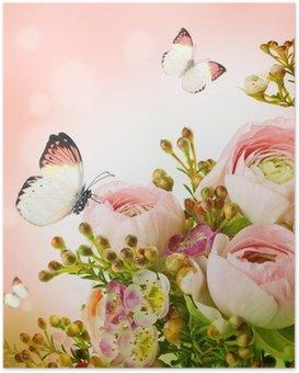 Poster Gentle Bouquet aus rosa Rosen und Schmetterling