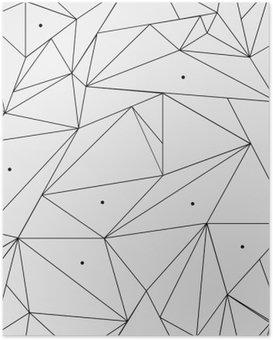 Poster Geometrische einfache Schwarz-Weiß minimalistische Muster, Dreiecke oder Buntglasfenster. Kann als Hintergrund, Hintergrund oder Textur verwendet werden.
