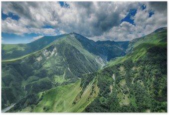Poster Georgia Berg Natur Landschaft schöne Sommer Kazbegi