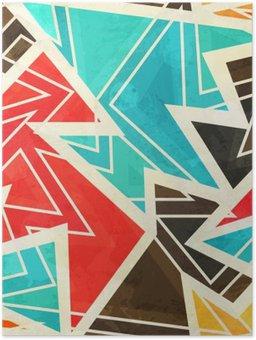 Poster Giovani disegno geometrico senza soluzione di continuità con effetto grunge