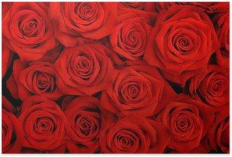 Poster Großen Strauß roter Rosen