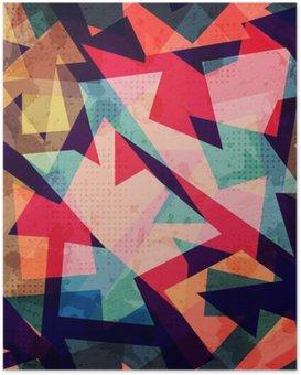 Poster Grunge geometrische nahtlose Muster