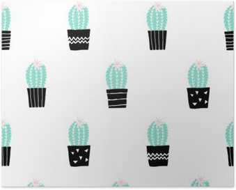 Poster Hand gezeichnet Kaktus Muster