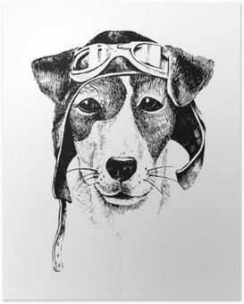 Poster Hand gezeichnet verkleidet Hund Flieger