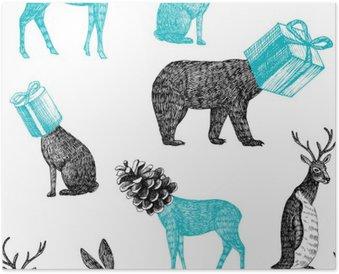 Poster Hand gezeichnet Winter Tiere nahtlose Hintergrund