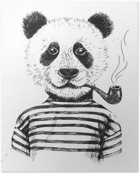 Poster Hand gezeichnete Illustration von hipster Panda