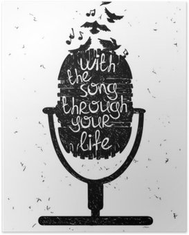 Poster Hand musikalische Illustration mit Silhouette des Mikrofons gezogen.