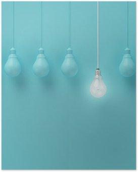 Poster Hängende Glühbirnen mit einer unterschiedlichen Idee auf hellblauem Hintergrund, Minimal Konzept Idee, flach lag glühend, top