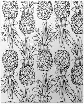 Poster HD Ananas seamless pattern